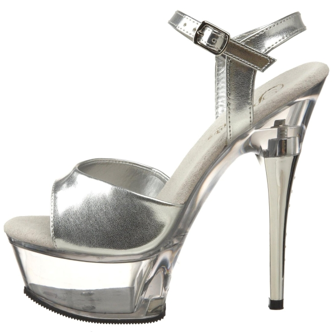 CAPTIVA Argent chaussures de pleaser high heels taille 39 - 40