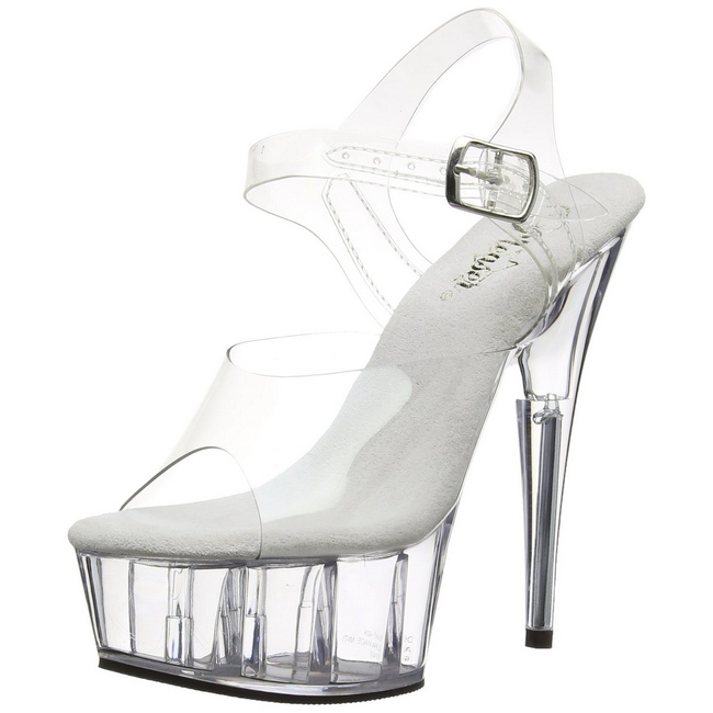 DELIGHT-608 transparent chaussures de pleaser high heels taille 37 - 38